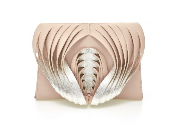 Golovina Angel Wings & Heart leather bag rose quartz and silver