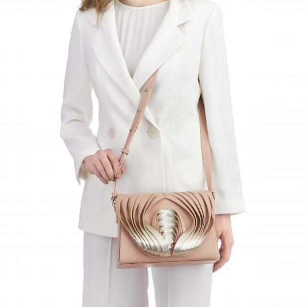 Golovina Angel Wings & Heart leather bag rose quartz and silver