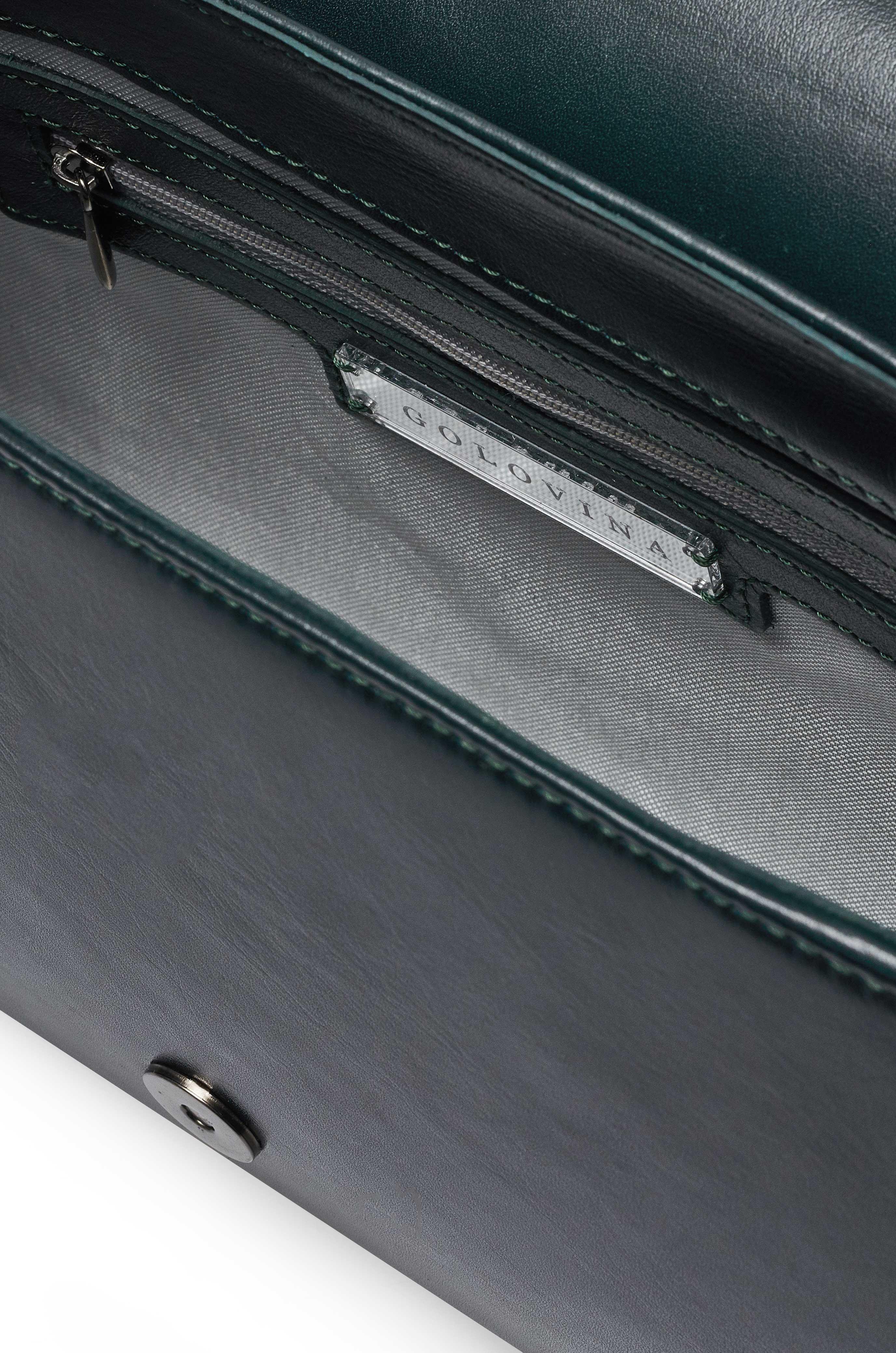 Golovina-Angel Wings & Heart bag emerald green and grey