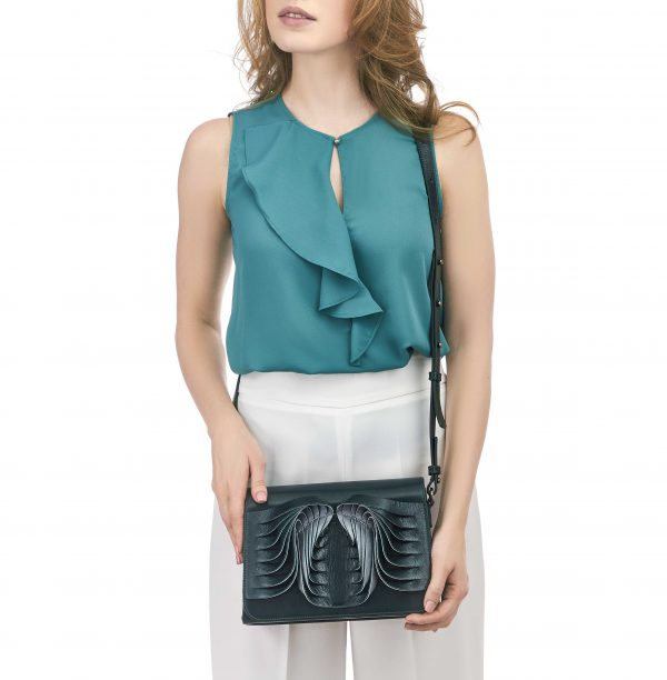 Golovina-Angel Wings & Heart bag emerald green and grey