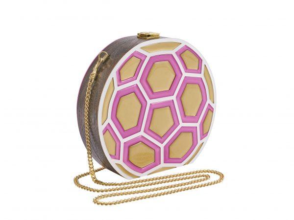 Golovina match ball clutch bag fuchsia and gold