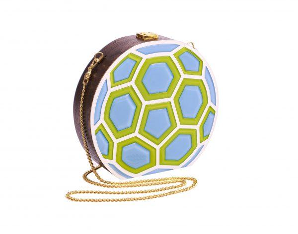 Golovina match ball clutch bag lime and blue