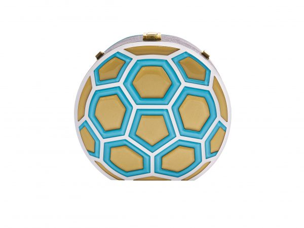 Golovina match ball clutch bag turquose and gold