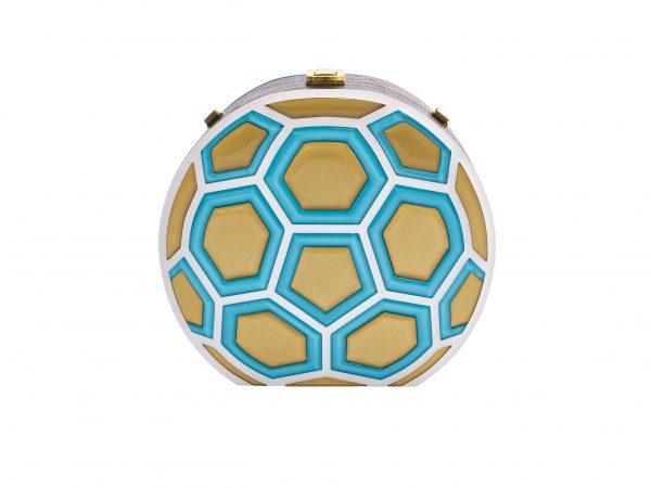 Golovina match ball clutch bag turquose and gold
