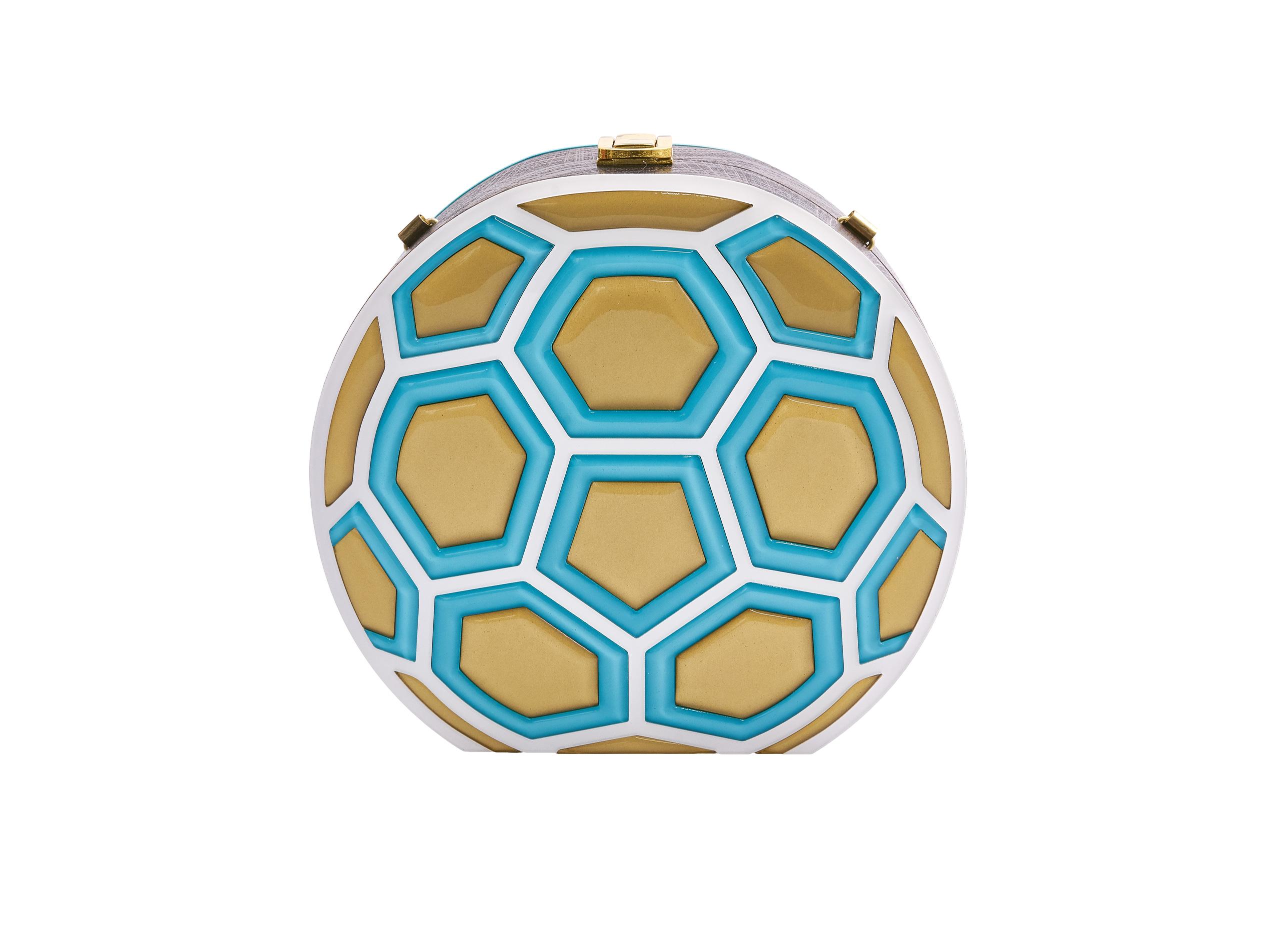 Match Ball Clutch Bag Turquose & Gold