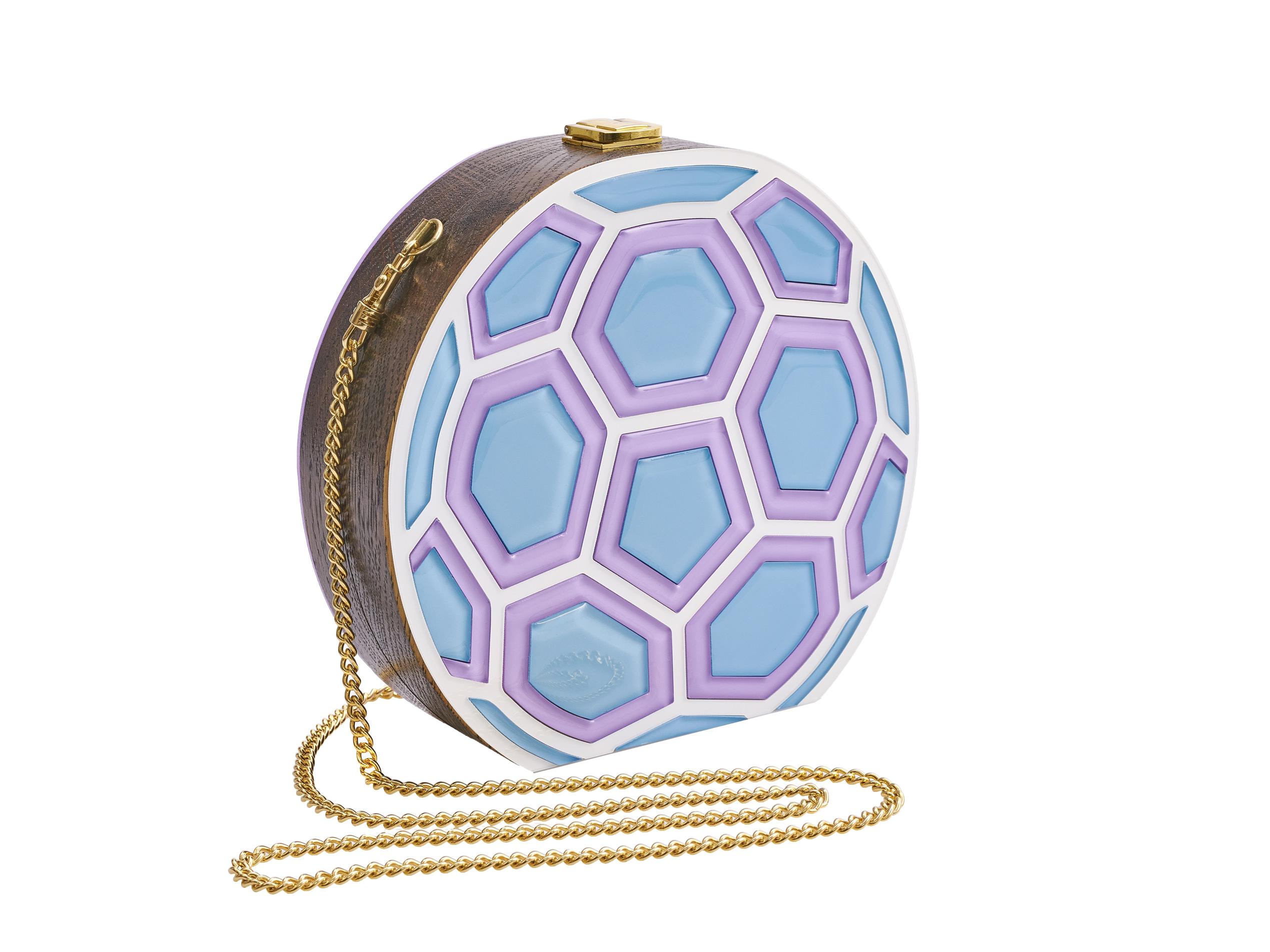 Golovina match ball clutch bag violet and blue