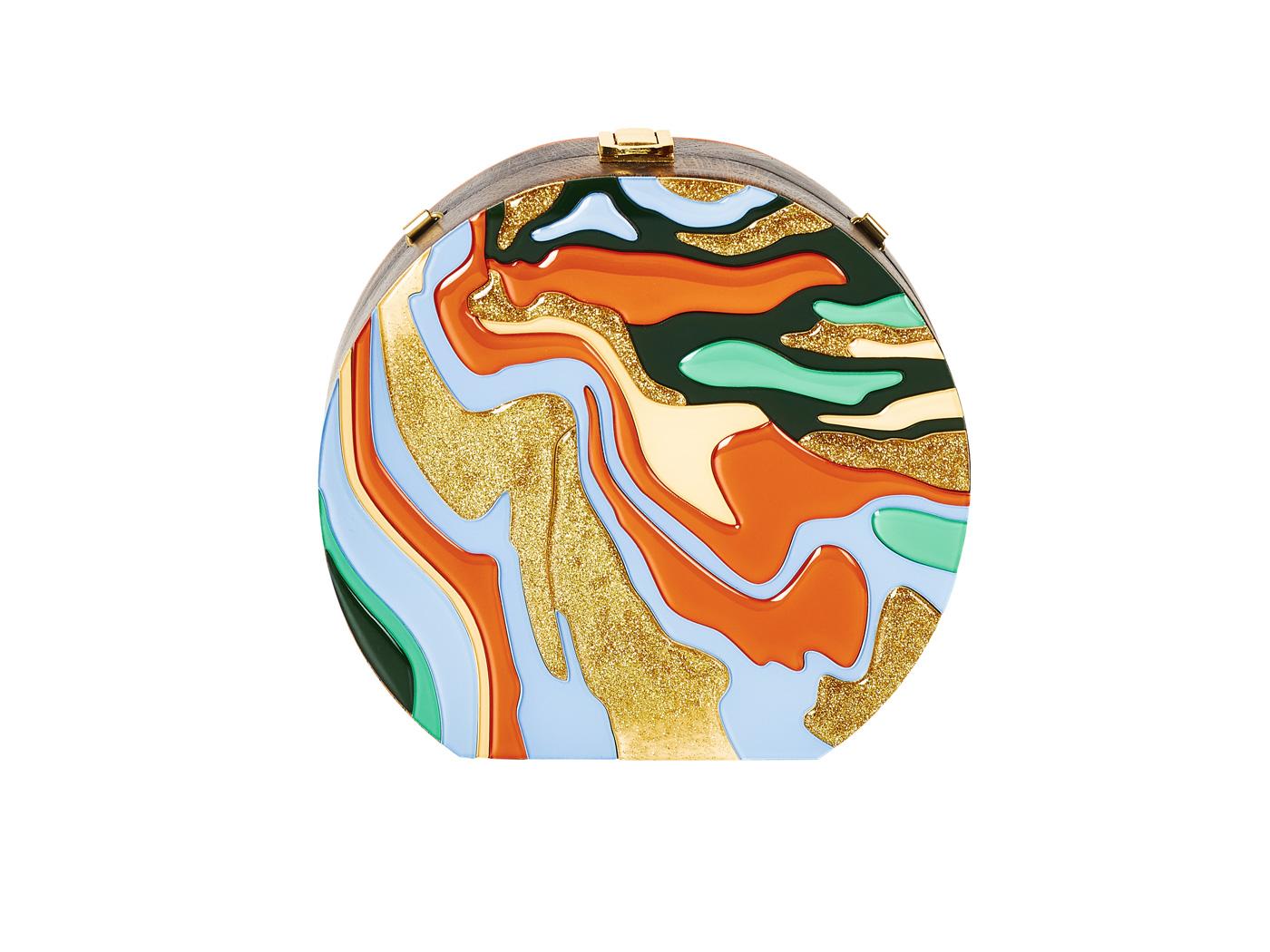 Golovina-marble-clutch-bag-orange-and-blue-1